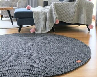 Modern Dark Gray round rug Round area rug Nursery Rug Skandinavische Teppich rund alfombra trapillo modern enfant Large Crochet floor Rug