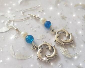 Dolphin earrings. blue and white dolpin earrings, dolphin jewelery, seaside earrings, hoiday jewellery, dolphins, summer earrings, sealife