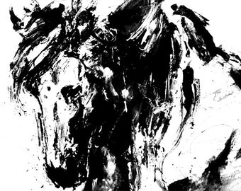 Horse Animal Art Print Black And White Ink Drawing Nature
