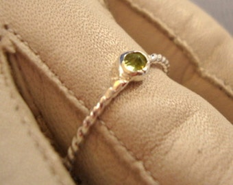 Cool green 3mm August Peridot sterling silver ring -custom made in your size - Fair Trade, earth friendly and conflict free