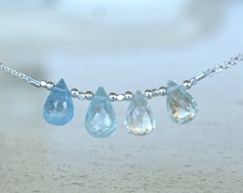 Aquamarine necklace March Birthstone Gemstone necklace Birthday gift for her Aquamarine jewelry Bridesmaid gift for BFF Aquamarine briolette