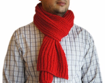 Red scarf, Mens knit scarf, Man scarf, Red knit scarf for men