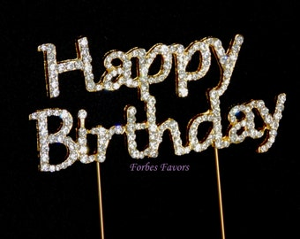 Rhinestone GOLD Happy Birthday Cake Topper