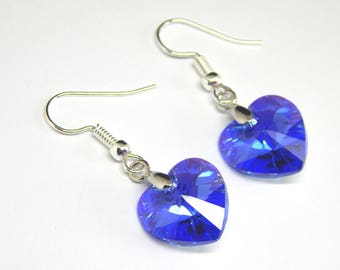 Blue Swarovski Crystal Heart Earrings - Sapphire Crystal - Heart Earrings - Royal Blue Crystal Heart - Silver Plated Blue Earrings