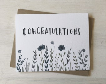 Congratulations - Congratulations card, congrats card, graduation card, wedding card, baby shower card, all occasion card, watercolor floral