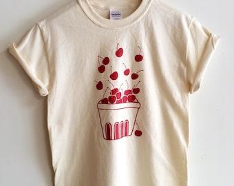 Cherry Screen Printed T Shirt, Clothing Gift, Foodie Gift, Gardening Gift