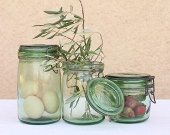 French L'Ideal preserving glass jar 1 litre - brand lid