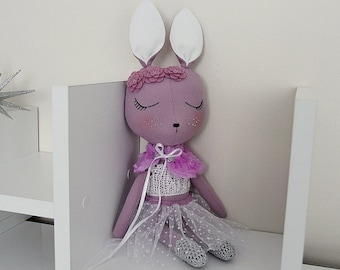 BUNNY FABRIC DOLL - Large - Purple - Simple and Chic Ballerina Theme - Heirloom Cloth Doll - Limited