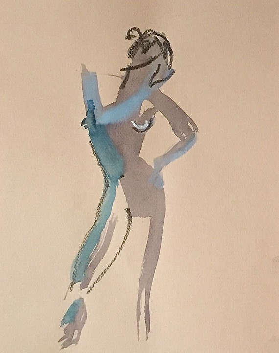 Nude painting of One minute pose 113.3 nude art, original, gesture sketch by Gretchen Kelly