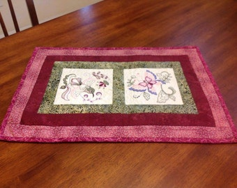Quilted  and Machine Embroidered Table Mat