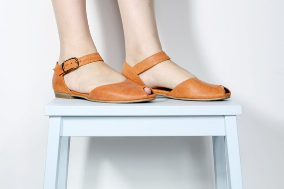 free orange leather Peep women's shipping On toe flats shoes sandals sandals Sale handmade leather SY7qpB