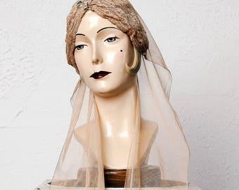 Antique Bridal Headpiece Mesh & Lace