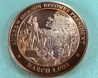 Franklin Mint Medal History of United States Series Andrew Jackson President 1829, 44 mm Bronze Mint Condition<>#PSY-33