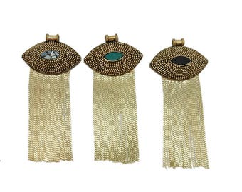 Marquise Tibetan Style Tassel Pendant with Gold Toned or Silver Toned Brass and Gemstone Accents (S122B10a) (S122B11a) (S122B12a)