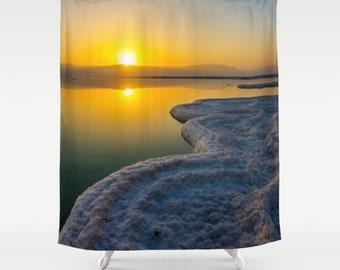 Shower Curtain Sunrise Curtain Sunset Curtain Dead Sea Curtain Nature  Curtain Landscape Curtain Sea View Curtain