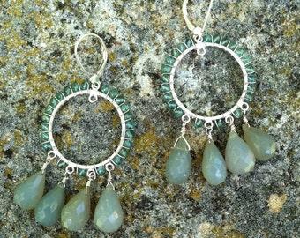 Aquamarine and chalcedony chandelier earrings