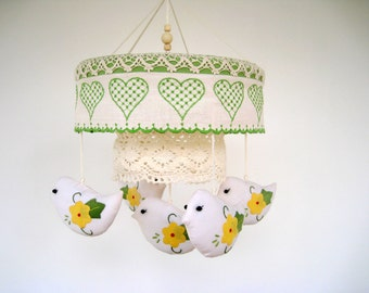 Baby mobile - One of a kind upcycled repurposed vintage napkin and lace bird mobile for nursery or little girl's room