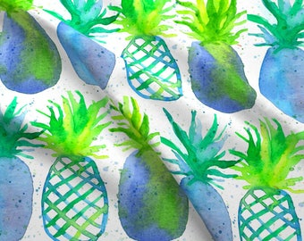 Blue Watercolor Pineapple Fabric - Pineapples In Blue By Countrygarden - Summer Fruit Beach Decor Cotton Fabric By The Yard With Spoonflower