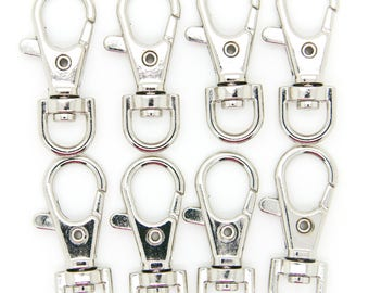 100pcs Silver Metal Lanyard Hook Swivel Snap For Paracord Lobster Clasp Clips 1.5""