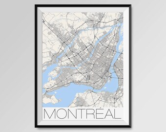 Montreal Map Poster Neighborhoods Typography City