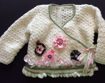12-18 Month Hand Crocheted Girl's Sweater