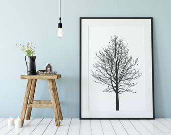 Tree – handmade screen print of a tree with insects, animals and other, dark grey, 500x700mm