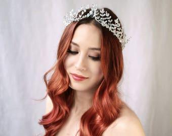 Crystal Crown, Silver Wedding Crown, Crystal Hair Vine, Bridal Crystal Crown, Woodland Queen Tiara, Winter Wedding Headpiece, Hair Accessory