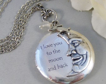 To The Moon,Locket,Silver Locket,Inspirational Jewelry,Moon,Luna,Rabbit,Love You,Antique Locket,Antique,Woodland,Love You,valleygirldesigns
