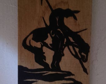 End of the trail - Pyrogravure and matte black acryliqyue paint