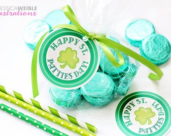 Happy St. PATTIES Day Printable Party Favor Tags, Cupcake Toppers - Printable St. Patricks Day Party Favors, Mint Patty Party Favor Tags 2.5