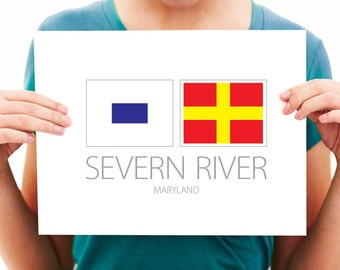 Severn River - Maryland - Nautical Flag Art Print