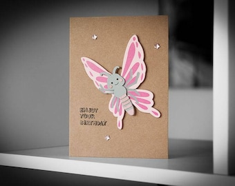 Cute Pink Butterfly Birthday Greeting Card