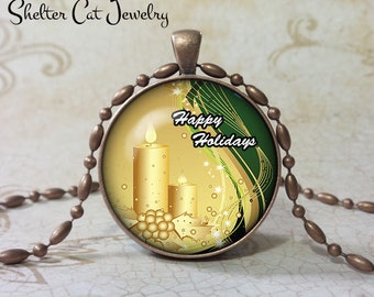 """Christmas Candles Necklace - Happy Holidays - 1-1/4"""" Circle Pendant or Key Ring - Colorful Gold & Green - Christmas Present or Holiday Gift"""