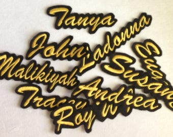 Custom Embroidered Contour Border Laser Cut Name Patch Felt Iron on Personalized Name Patches Embroidery Customized Name Tag