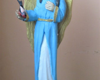 Angel with a Bird  Wooden Angel Polish Carving OOAK