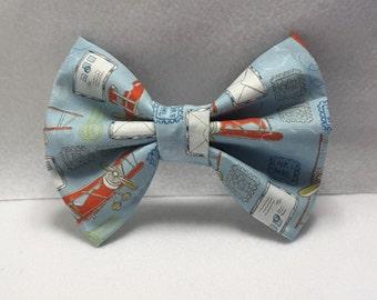 plane/air mail bow,plane hair accessories,fabric hair bow