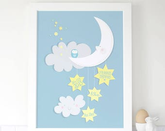 Personalised Baby Boy/Girl Birth Print With Moon And Stars