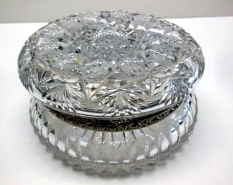 ON SALE:  Rare ABP Cut Glass Dresser/Vanity Jar Hinged Lid