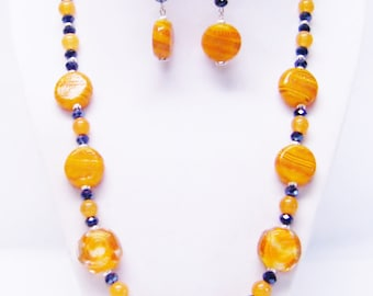Orange Swirl Glass Coin Bead Necklace & Earrings Set