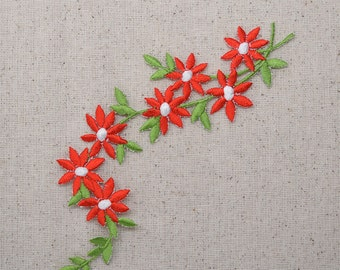Daisy - Red Daisies on Vine - Flowers - Iron on Applique - Embroidered Patch