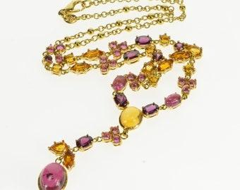 """18K Dessigner Garnet Tourmaline Citrine Ornate Chain Necklace 17"""" Yellow Gold"""