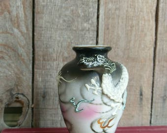 Vintage Japanese Moriage Dragon Serpent Vase