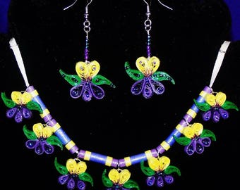 pansies or violet necklace and earring set ~ by Willowbrook Creations