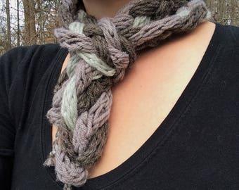 Hand Knit Braided Scarf