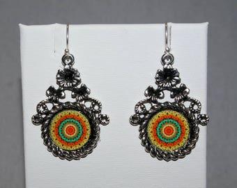 Mandala Earrings Lantana In A Flower Bezel Boho Chic Sacred Geometry Zen Hippie Kaleidoscope Gypsy Unique Gift For Her Lantana Mandala