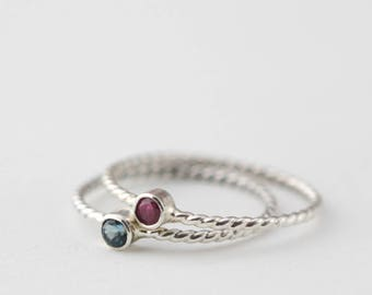 Tiny Gemstone and Silver RIng, Birthstone Ring in sterling silver, sterling silver birthstone ring,