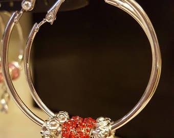 Silver Heart Earrings, Valentine Earrings, Red Heart Earrings, Valentine Heart Earrings, Valentine Earring Gift, Valentines Jewelry