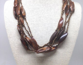 Vintage Estate Bronze Brown Marble Like Beads Necklace