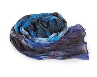 Black crinkle scarf, silk scarves, womens silk scarves, chiffon scarf, crinkle chiffon scarf, black chiffon scarf, gift for best friend