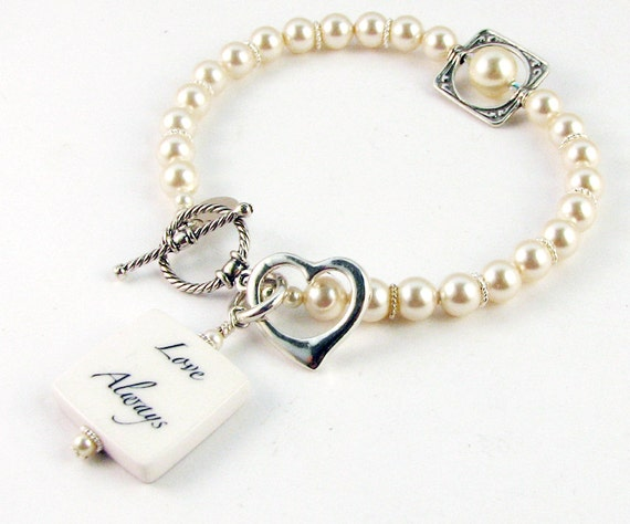 Pearl Bracelet with Photo Charm and sterling heart - P3B7